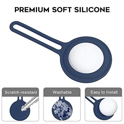 NEWZEROL Cover Protettiva in Silicone Compatibile per AirTag, Protezione Completa in Silicone AntiGraffio Accessori Cover con Gancio ad Anello per AirTag - Blu