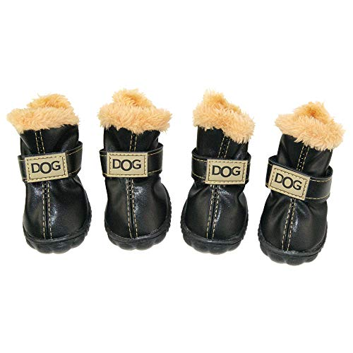 ZEKOO Dog Shoes Australia Boots Pet Antiskid Winter Warm Skidproof Grains Wear-Resisting Sneakers Paw Protectors (2, Black)
