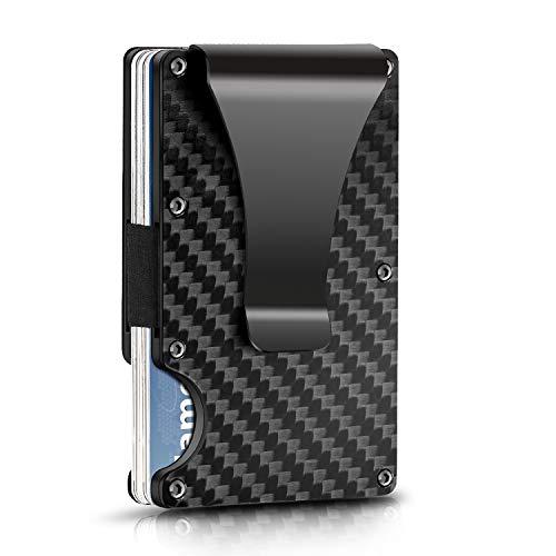 Kartenetui aus Carbon Kreditkartenetui mit Geldklammer Kreditkarten etuis Geldbörse Slim Wallet Portmonee Geldbeutel mit RFID Schutz Minimalisten Schraubendreher für Herren