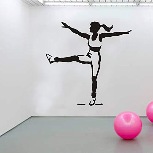 Fitness Girl Calcomanía de pared Deporte Ejercicio Pegatinas de ventana Gimnasio Sala de entrenamiento Decoración interior Papel tapiz creativo extraíble otro color 30x30cm