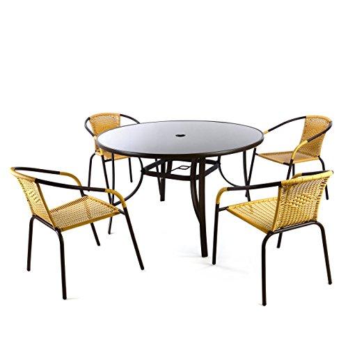 Nexos Bistroset 5tlg beige Sitzgruppe Gartengarnitur Poly Rattan Gartenmöbel 5er Set
