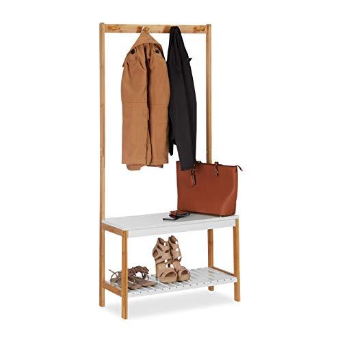 Relaxdays kapstok met schoenenrek, 4 kledinghaken, met plank, bamboe & MDF, HBT 150 x 70,5 x 30 cm, natuurlijk wit