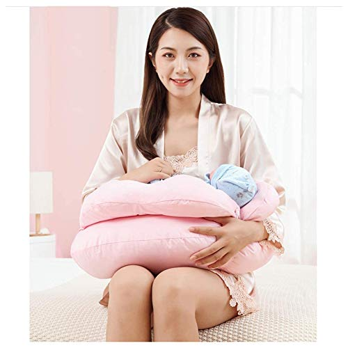 ZHANGXJ Pequeño Cojín Lactancia Bebé Almohadas para Lactancia Ergonómico Multifuncional Algodón Almohada de Maternidad Amamantar Cojín Cómodo Durable Lavable Casa (Color : Pink)