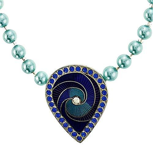 behave Collar de Perlas de Color Azul Claro - Collar de pedrería con pedrería Azul - Collares de Perlas para Mujer