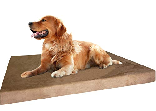 Dogbed4less Extra Large True Orthopedic Gel Memory Foam Dog Bed for Large Pet, Waterproof Liner and Durable Brown Cover, XL 40X35X4 Inch