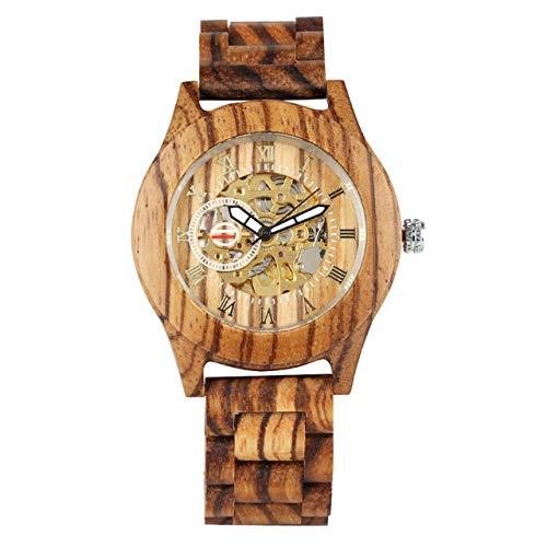 RWJFH Reloj de Madera Nuevo Reloj de Moda para Hombres Caja de Madera Completa Pantalla de números Romanos Reloj de Pulsera mecánico automático de Acero Hueco Dorado, Modelo 1 Solo Reloj