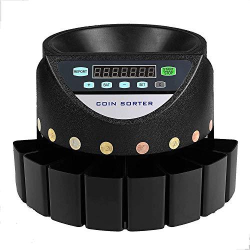 Kassaltol Contador de Monedas Euro 300 Monedas por Minuto Clasificador de Monedas Automático Hucha Contadora de Monedas con Pantalla LED