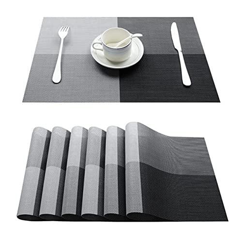 EU-NING Mesa de comedor de lino de PVC para mesa de ajuste a cuadros servilleta de asiento en accesorios de cocina taza vino almohada-E-negro, juego de 6
