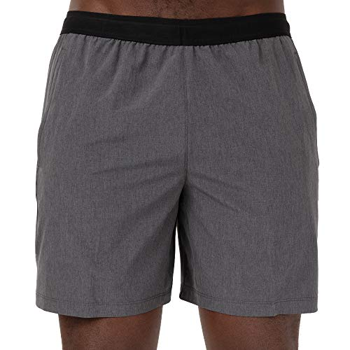 Skora Men's Two in One and Unlined Athletic Running Shorts with Pockets and Zip Back Pocket (Medium, Charcoal Unlined 7 Inch)