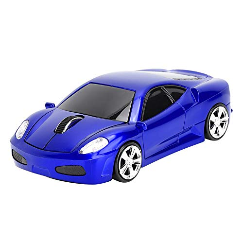 cigemay Wireless Mouse, Sports Car Design, 2.4 GHz Connection Through A New Generation Of Mini Body NANO Receiver, Suitable For PC/Computer/Laptop (Blue)