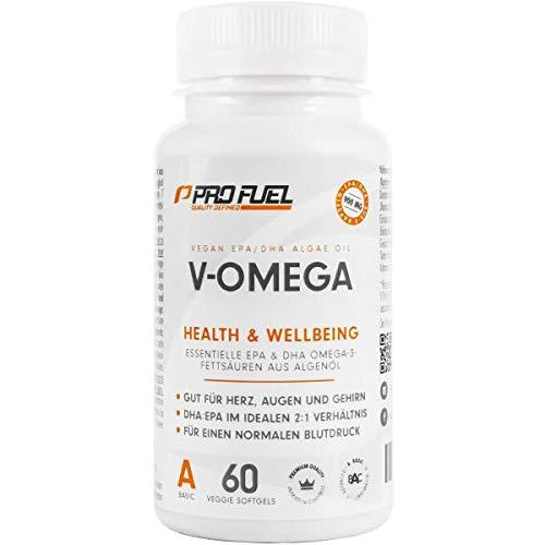 ProFuel V-Omega, Omega-3, EPA & DHA Algenöl-Kapseln, 60 Kapseln Dose