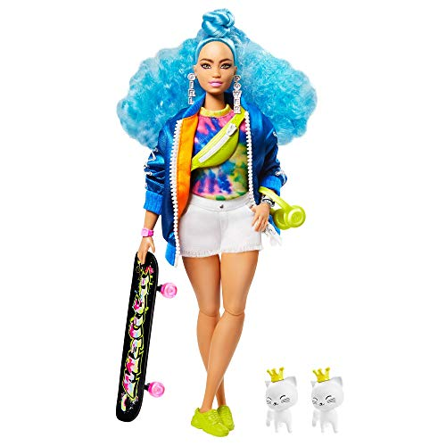 Barbie Extra Doll #4, Curvy, in Zippered Bomber Jacket with 2 Pet Kittens, Blue Curly Hair, Outfit & Accessories Including Skateboard, Multiple Flexible Joints, Gift for Kids 3 Years Old & Up