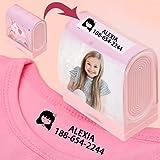 Sello de nombre personalizable, sello de nombre personalizado para siempre, puede poner una foto, sello de nombre impermeable de dibujos animados lindo, para guardería, escuela, ropa para niños