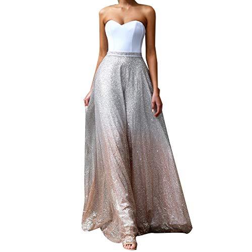 YWLINK Mujeres Vestido Elegante del Partido Moda Sin Mangas Sin Tirantes Atractivo Blanco Vestido De Fiesta De Coctel Slim Fit Lentejuelas Vestido De Novia Falda