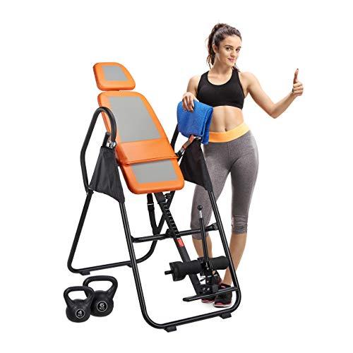 Relaxdays Inversionsbank Rückentrainer klappbar, 180 Grad Überkopftrainer, Schwerkraftrainer, bis 130 kg, schwarz-orange
