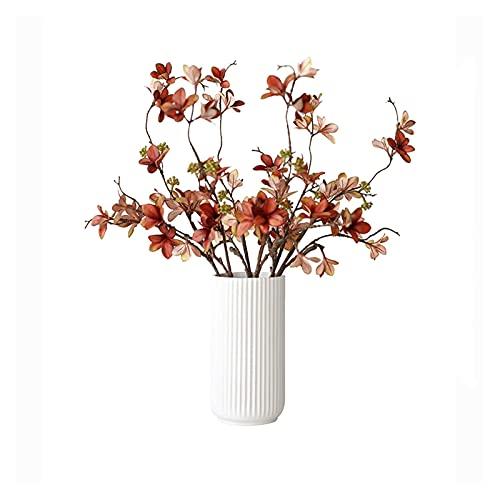 jinyi2016SHOP Artificial Flowers 21.65 Inch Artificial Flowers,Artificial Plants with White Ceramic Vase,Desk Plant for Farmhouse,Home,Office(Maroon) Decoration Bouquets