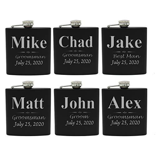 Set of 1, 2, 3, 4, 5, 6, 7, 8 Personalized Black Flask - Custom Engraved Groomsmen, Best Man, Groom Gift Flasks - 3 Lines Style (6)