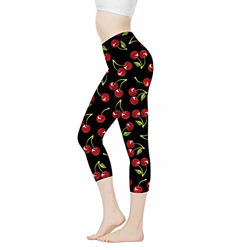 FUIBENG Cherry Printed Leggings for Women Girl High Stretch Yoga Pant 3/4 Length High Waist Leggings Activewear Workout Capri Legging(XS-3XL)