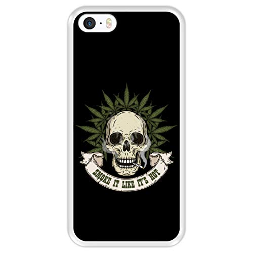 Hapdey Funda Transparente para [ Apple iPhone 5 5S SE ] diseño [ Calavera con Marihuana, Smoke it Like It's Hot ] Carcasa Silicona Flexible TPU