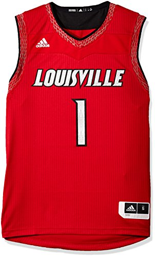 adidas Adult Men NCAA Iced Out Replica Basketball Jersey, Large, Power Red, Louisville Cardinals