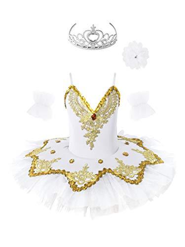 Freebily Vestito da Balletto Bambina Tutu Paillettes Principessa Abito da Danza Classica Ballerina Body da Pattinaggio Artistico Lago dei Cigni Costume Natale Carnevale Bianco 5-6 Anni