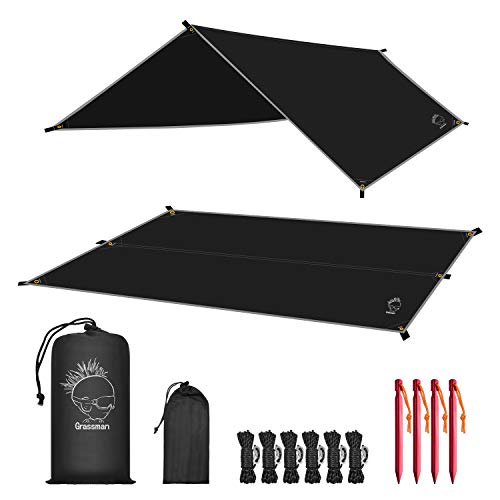 Grassman Camping Tarp, Ultralight Waterproof 10x10ft/10x12ft Rain Fly Shelter, Easy to Setup Camping Tarp Tent, Perfect for Backpacking, Hiking, Travel, Outdoor Adventures Survival Gears