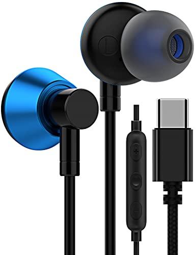Auriculares USB C, USB tipo C, estéreo en la oreja, Hi-Fi Digital DAC Cancelación de ruido con micrófono y control remoto para Samsung Galaxy S21+Ultra/S20 FE/S20/OnePlus 9 Pro/9/8T-Azul