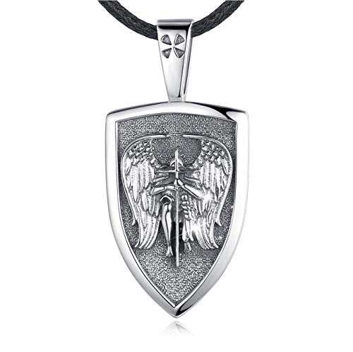 Eusense St Michael Halskette für Herren Damen, 925 Sterling Silber Schutzanhänger mit Erzengel, Engel Schutzheiligen Amulett, Schmuck Geschenk für Jungen Mädchen mit Lederseil 61 cm