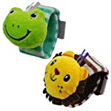 Baby Armband Rasseln Spielzeug, Plüschtiere Handgelenkrassel Pädagogisches Spielzeug für Kleinkinder Geschenk 2 Stück
