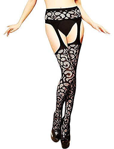 Dames sokken - dames - nep visnet bretels - bewerkt - stretch - kant - zwart - one size - origineel cadeau idee