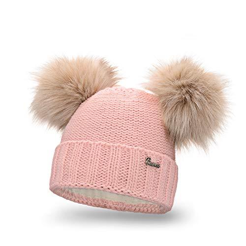 PaMaMi Essential Nomad Warme Winter Mütze für Damen | Hellrosa | Acryl und Polyamid | Strickmütze mit 2 Fellbommeln | Kopfumfang 55-58 cm | Beanie mit Fleece gefüttert