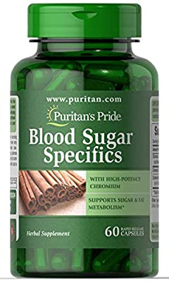 Puritan's Pride Blood Sugar Specifics with Cinnamon & Chromium | Supports Sugar & Fat Metabolism | Rapid Release | 60 Capsules