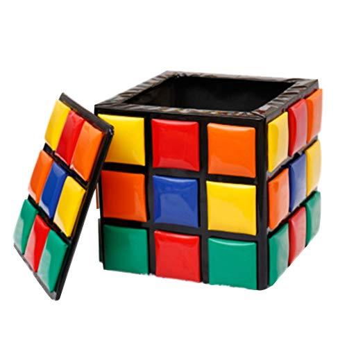 YLCJ Taburete de Almacenamiento de Cubo de Rubik Otomana de Almacenamiento Banco de Almacenamiento de Cambio de Calzado Creativo Taburete de PU de niño CartoonA_31 * 31 * 31cm