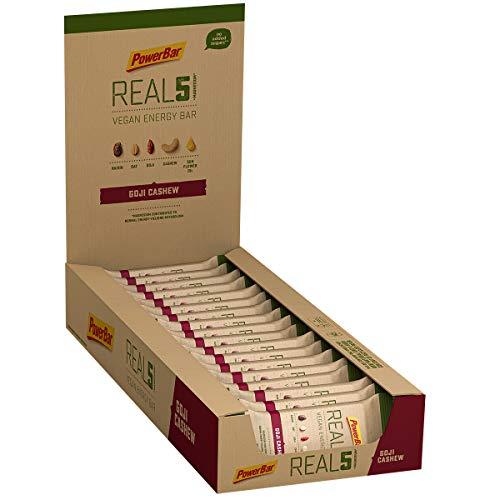 PowerBar Real5 Goji Cashew 18x65g - Veganer Riegel mit 5 Natürlichen Zutaten + Magnesium
