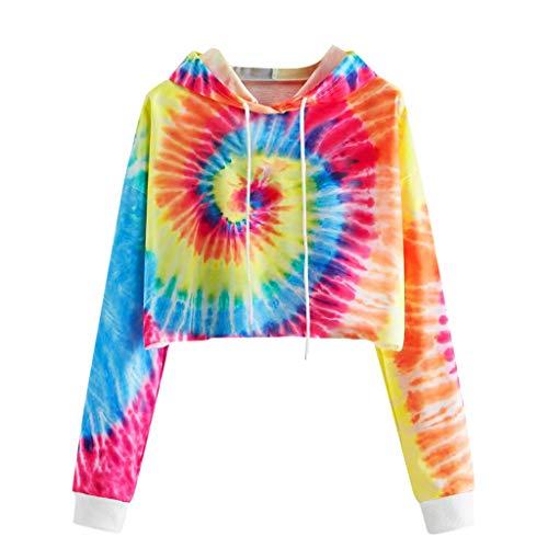 Gofodn Ladies Tops for Women Pullover Hoodie Sweatshirt Long Sleeves Casual Plus Size Tie-Dye Print Short Hooded Tunic Top Blouse Red