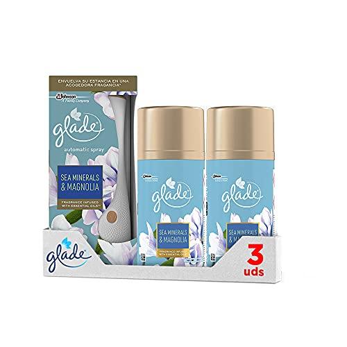 GLADE Ambientador Automático, Pack Difusor + 3 Recambios, 60 Días De Fragancia Sea Minerals & Magnolia, 350 g