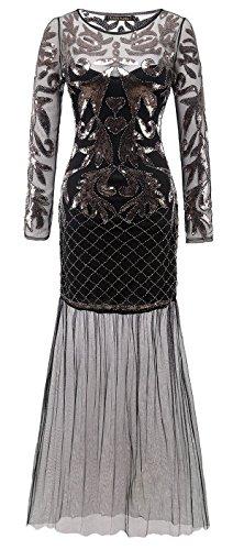 Izacu Flocc®, costume da donna, ispirato alle donne flapper, con lustrini e orlo smerlato, stile anni '20 Grande Gatsby Art Déco, modello 144 Black Small