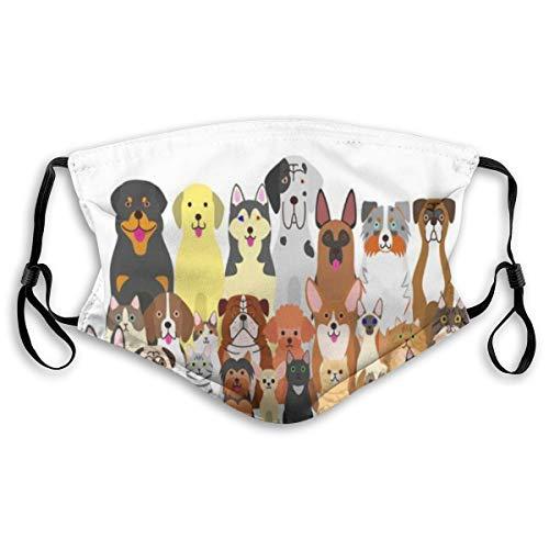 BEITUOLA Face Cover Schnauzer Gruppe Hunde Katzen Pudel Tiere Beagle Wildlife Shorthair Sturmhaube Wiederverwendbare Anti-Staub-Mund-Bandanas mit 2 Filtern