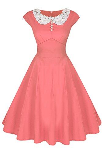 ACEVOG Women's Classy Vintage Audrey Hepburn Style 1940's Rockabilly Evening Dress (XXL, Pink)