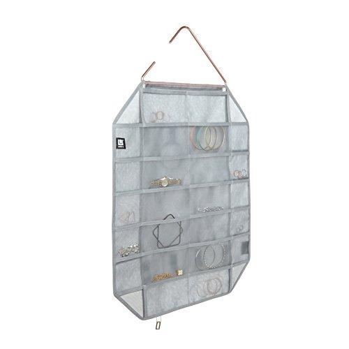 Umbra 294280–918Facetta Moderno Organizador de Joyas de/de Almacenamiento con 38Bolsillos y 11schlingen, Gris