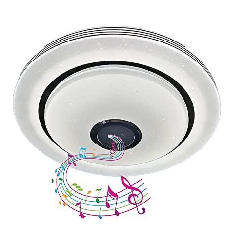 Lámpara De Techo RGB Con Altavoz Bluetooth Luz De Techo De Música De Baño LED, Regulable Control Remoto Y APP Pantalla De Sombrero De Paja Impermeable IP44 Para Cocina Guardería,40cm100w