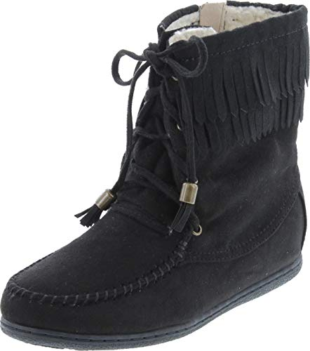 SODA Tying-S Moccasin Boots, Black Suede, 5.5