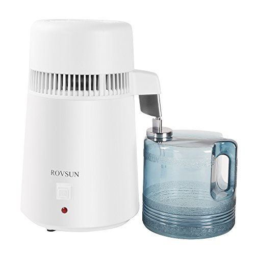 ROVSUN Countertop Water Distiller Machine All Stainless Steel Interior, Distilled Water Purifier Filter with 4L BPA-Free Container,750W Pure Water Maker,1L/h