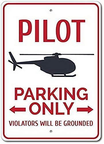 Cartel de metal para estacionamiento de piloto, signos de estaño vintage, para Home Deocr, regalos divertidos de 20 x 30 cm, regalo de piloto, decoración de piloto, regalo de helicóptero
