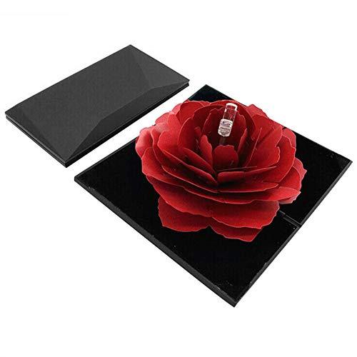 Wodeni Roterende Rose Ring Box Folding Sieraden opbergdoos geval voor voorstel huwelijk verloving