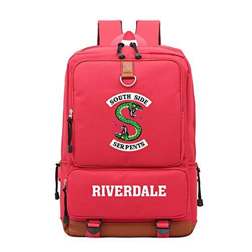 Memoryee Casual School Backpack Riverdale Southside Serpents Print Laptop Rucksack Multi-Functional Daypack Book Satchel Red