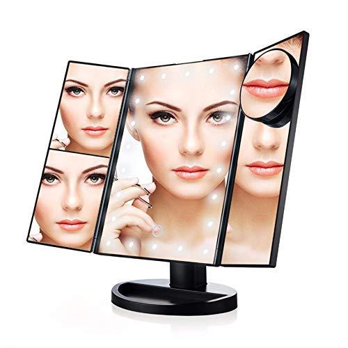 KANJJ-YU Maquillaje Espejo con luz, 22 LED con luz Espejo de baño Espejos Iluminado Pantalla táctil de atenuación encimera 180 ° de rotación de la batería y USB Powered cosmético del Espejo Espejo