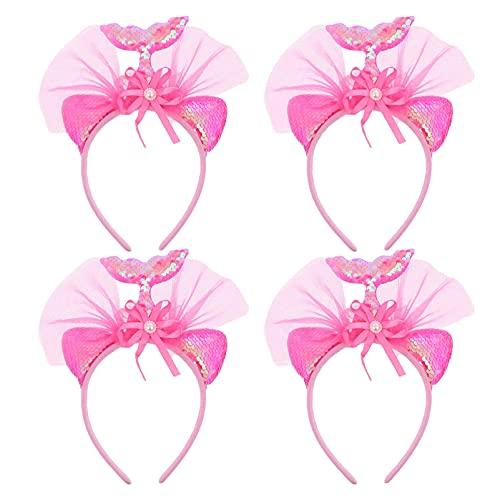 HSJWOSA Protector 4pcs Cola de la Sirena de Las Vendas del Brillo de Lentejuelas Tul Hairbands del aro del Pelo Accesorios para el Cabello de la Sirena Compatible con Pink Girls Estirable