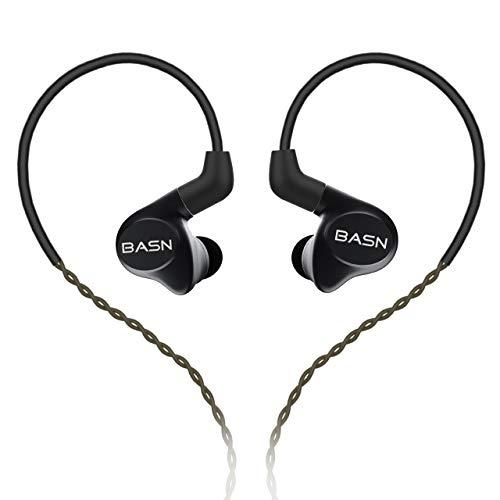 HiFi In-Ear-Kopfhörer, BASN Metall-Aufnahme, IEM-Kopfhörer mit 2 abnehmbaren Kabeln, drei Treiber (1 dynamisch + 2 Knowles BA) geräuschisolierender Musiker in Ohren schwarz