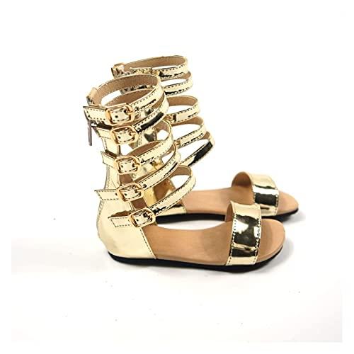 Youpin Mode sommar flickor romerska sandaler handgjorda babysandaler barnskor prinsessskor halkfria barn lädersandaler för barn (färg: Guld, skostorlek: 11)